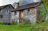 old historic stone houses in the typical architectural style of the Valle Maggia, Ticino