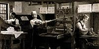 Benjamin Franklin 1706_1790, US polymath, working as a printer on the ´The New_England Courant´. Later famed as a scientist, inventor, and one of the ...