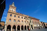 Palazzo del Re Enzo. Piazza Maggiore. Red brick palace.