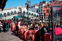 Cafe by the Grand Canal and Rialto Bridge in Venice, Veneto, Italy