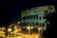 Roman Colosseum. Amphitheatre. Four tiered building. Night.
