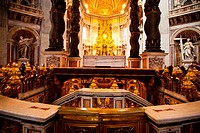 Looking towards the Papal Altar of the Basilica of St Peter's in the Vatican, Rome, Italy