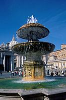 St Peter's Square. Fountain. St Peter's basilica. Dome. Statues