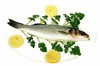 Fresh seabass ready to cook, on white plate decorated with parsley and slices of lemon.