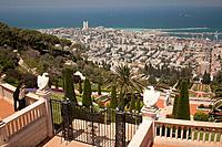 Israel, Middle East, Haifa, Baja´i Gardens or Baha´i  and views down to city, port and Mediterranean Sea. The Terraces of the Baha´i Faith, also known...