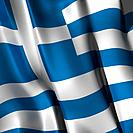 Rippled flag of Greece. Close up