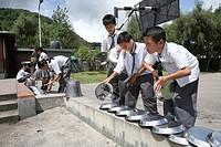 Tibetan refugees in school in Nepal