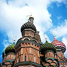 Kremlin. St Basil´s cathedral church. Domes,traditional orthodox style. Onion shape. Decorated. Towers.