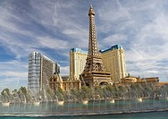 The Bellagio Fountains, with the Paris Las Vegas Hotel and Casino in the background  Las Vegas, Nevada, United States