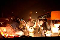 Night traffic, Delhi, India, motion blur