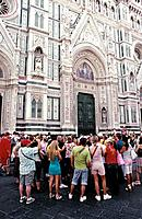 The huge cathedral church of Santa Maria del Fiore with the neo_Gothic facade designed by Brunellischi is a major historical and religious site in the...