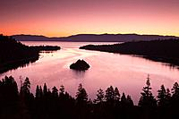Emerald Bay and Fannette Island in Lake Tahoe, at sunrise or dawn, Emerald Bay State Park, California, USA.