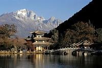China, Yunnan Province, Lijiang, Black Dragon Pool, Jade Dragon Snow Mountain.