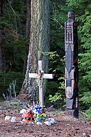 There is a gravesite,totem pole and grave site of an native indigenous person and it is the focus for First Nation culture.