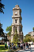 The clock tower was added to the Dolmabahce Palace, and stands in front of the Treasury Gate on a square along the European waterfront of Bosphorus ne...