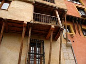 Balcony, architecture in old town, Cuenca, Castilla-La Mancha, Spain