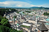 Panoramic outlook from the Festung Hohensalzburg fortress, cathedral and River Salzach, Salzburg, Austria