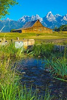 Barn with Tetons in the background, Jackson, Wyoming, USA