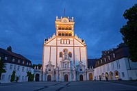 St  Matthias' Abbey, illuminated at night, Trier, Germany