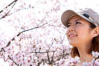 Young woman looking at cherry blossoms
