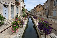 Attractive Rue du Pont in the medieval town of Beaugency, Loire Valley, France