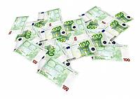 Isolated spread euro banknotes