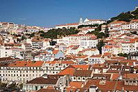 high angle view of the terracotta rooftops in old lisbon from the santa justa elevator observation platform, lisbon, portugal