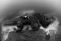 Scuba Diver at B 17 Bomber Airplane Wreck, Corsica, France
