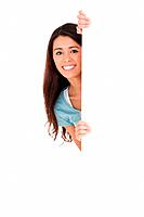 Good looking woman hidding behind a board while standing against a white background