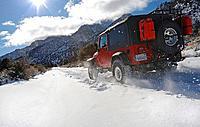 Jeep on Trail at base of Mount Whitney, Sierra Nevada Mountain Range, California, USA