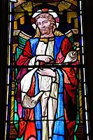 stained glass window with religious figure in saint george's anglican church, montreal quebec canada
