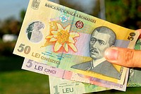 Romanian 1 leu and 5 and 50 lei notes  The 50 note depicts Aurel Vlaicu, Romanian engineer, inventor, pilot and plane builder