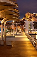Harbour promenade and Santa Barbara castle  Alicante City, Valencian Community, Spain, Europe