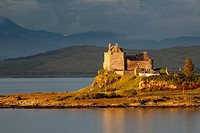 Duart Castle at sunset in Isle of Mull, Argyll and Bute, Scotland