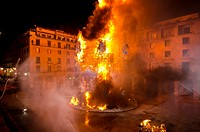 Foguera monument at City hall burning at san Joan night, Hogueras de San Juan, Fogueres de Sant Joan festival  Alicante City, Costa Blanca, Spain, Eur...