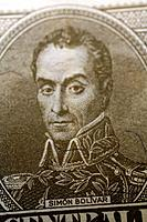 simon bolivar depicted on a venezuelan currency bank note