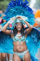 A parade participant in festive attire at the West Indian American Day Parade held on Monday, September 5, 2011 in Crown Heights, Brooklyn, New York, ...