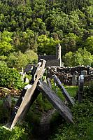 st. kevin´s church sometimes called st. kevin´s kitchen and old tombstones in a cemetery, glendalough county wicklow ireland
