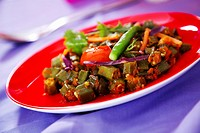 Bhindi Bhajee, spicy ocra curry