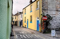 A no entry sign along a road in Lyme regis, Dorset, England