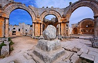 St Simeon's pillar in the ruins of the church of St Simeon, Syria