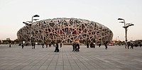 the bird´s nest stadium built for 2008 summer olympics, beijing, china