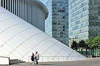 Office buildings of the European Parliament and the Grande_Duchesse Joséphine_Charlotte Concert Hall / Philharmonie Luxembourg at Kirchberg, Luxembour...