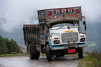 colorful and decorated truck, phobjikha valley bhutan