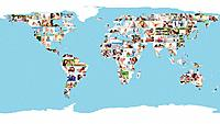 An illustrated world map made of pictures