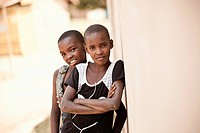 Portrait Of Two Ugandan Children, Kampala Uganda Africa
