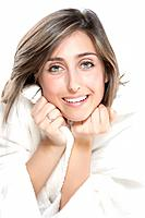 Portrait of Fresh and Beautiful woman on white background wearing white bathrobe