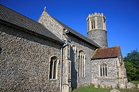 Village church with 15th Century round_tower, St Remigius Church, Roydon, Upper Waveney Valley, Norfolk, England, june