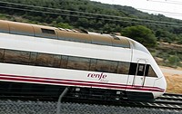 Spain, Catalonia, Lleida province, High Speed Train, AVE Alvia Serie 120 entering the Vinaixa viaduct