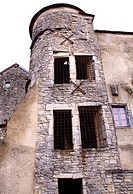 View of the streets of the village of Flavigny sur Ozerain, Cote d'Or 21, in Burgundy, where was filmed the hollywood's movie 'Chocolat', old tower, d...